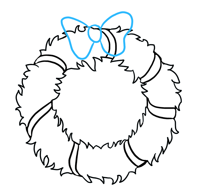 How to Draw Christmas Wreath Step 06