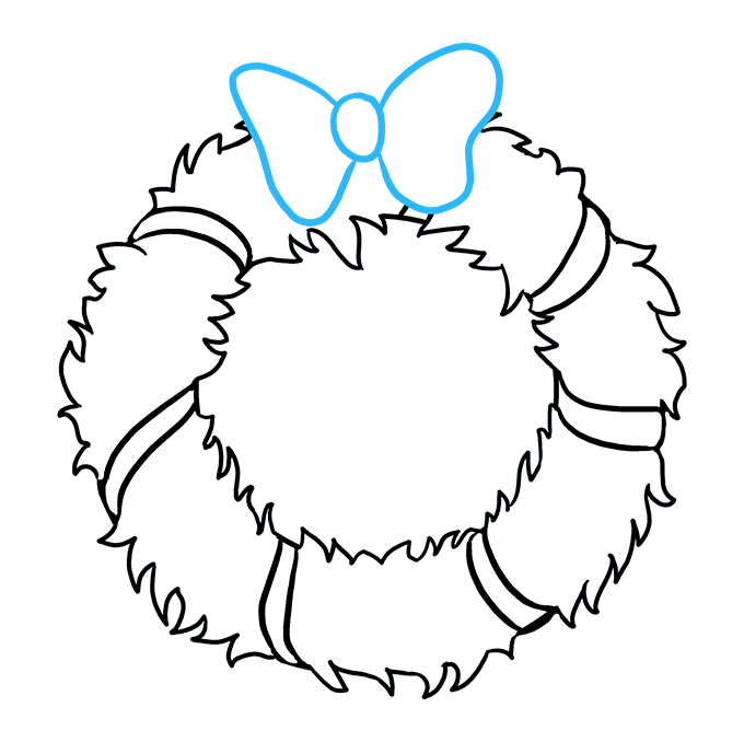 How to Draw Christmas Wreath Step 07