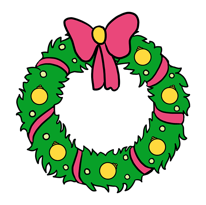 How to Draw Christmas Wreath Step 10