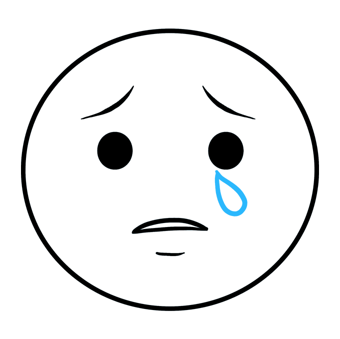 How to Draw Crying Emoji: Step 5