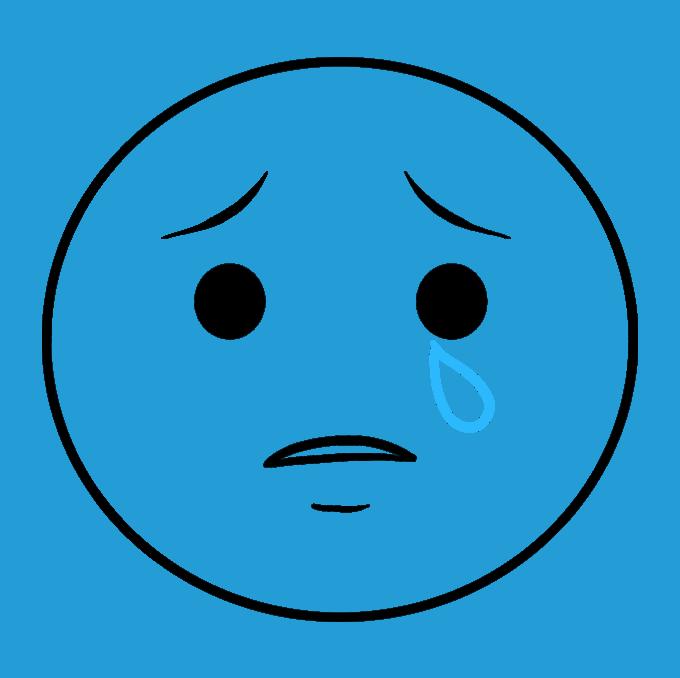 How to Draw Crying Emoji Step 05
