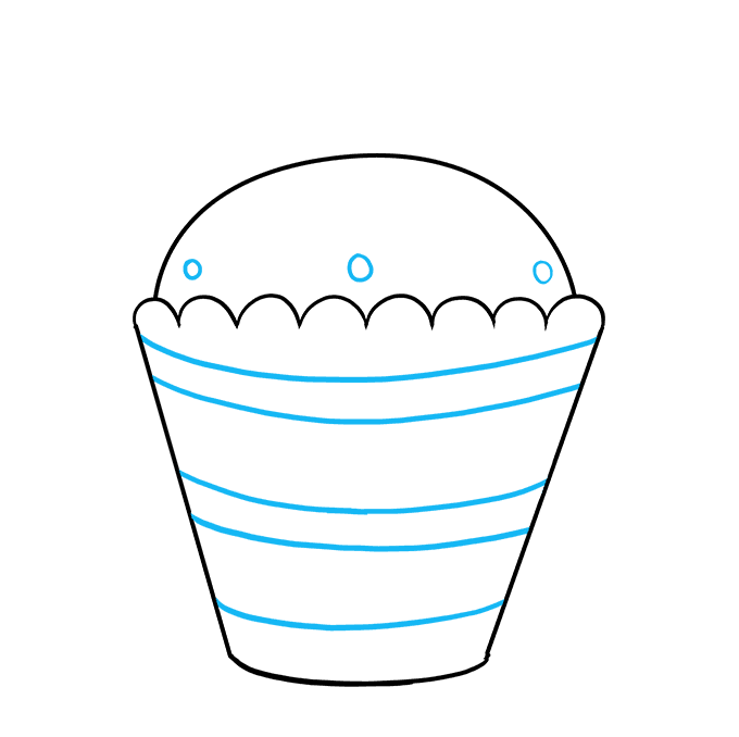 How to Draw a Cupcake Step 07