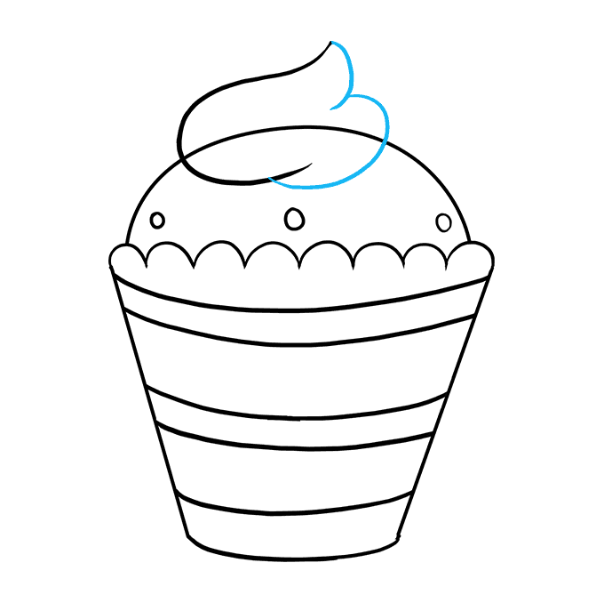 How to Draw a Cupcake Step 09