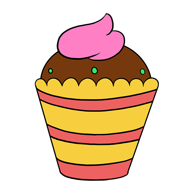 How to Draw Cupcake: Step 10