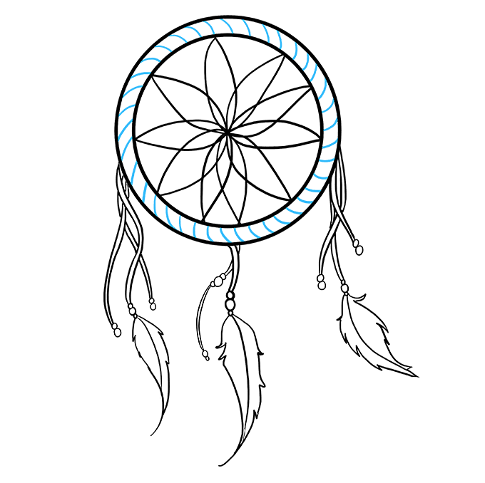 How to Draw Dream Catcher: Step 7