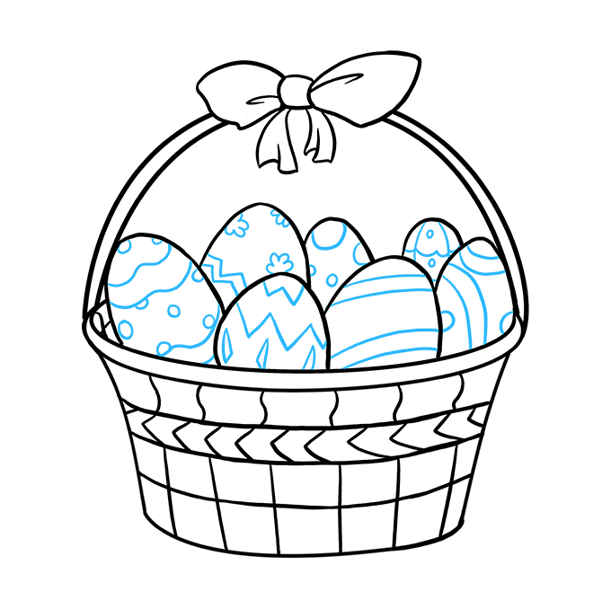 How to Draw Easter Basket: Step 9