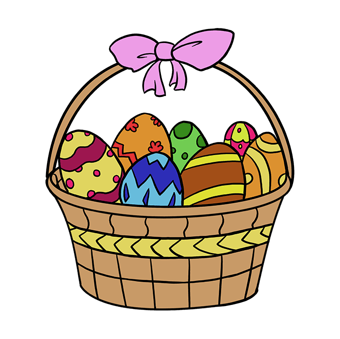 How to Draw Easter Basket: Step 10