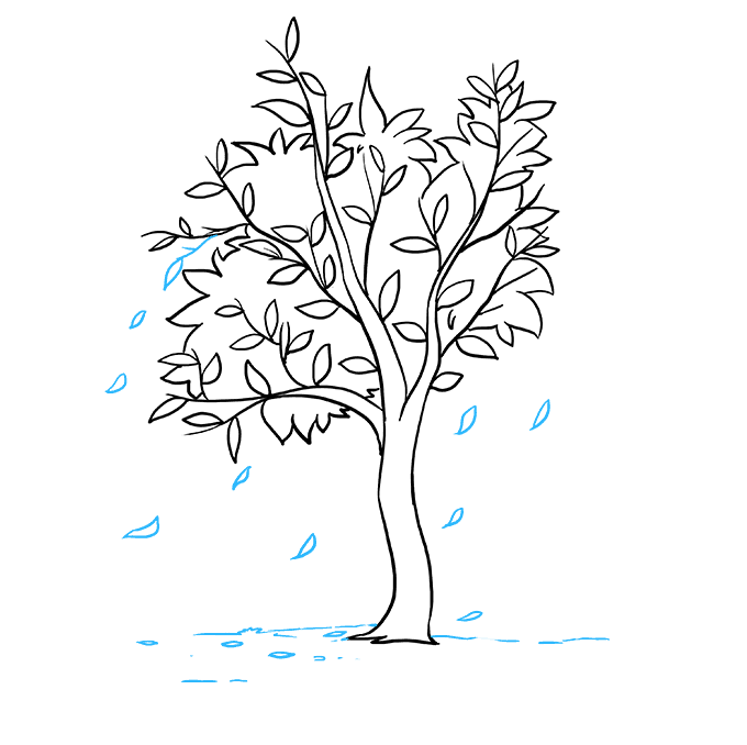 How to Draw Fall Tree: Step 7