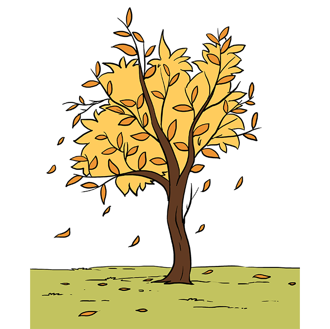 This is an image of Revered Fall Tree Drawing