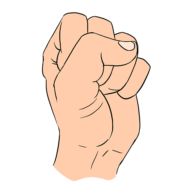 How to Draw a Fist Step 10
