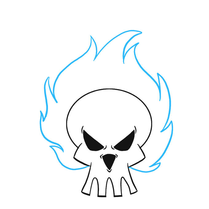 How to Draw Flaming Skull: Step 8