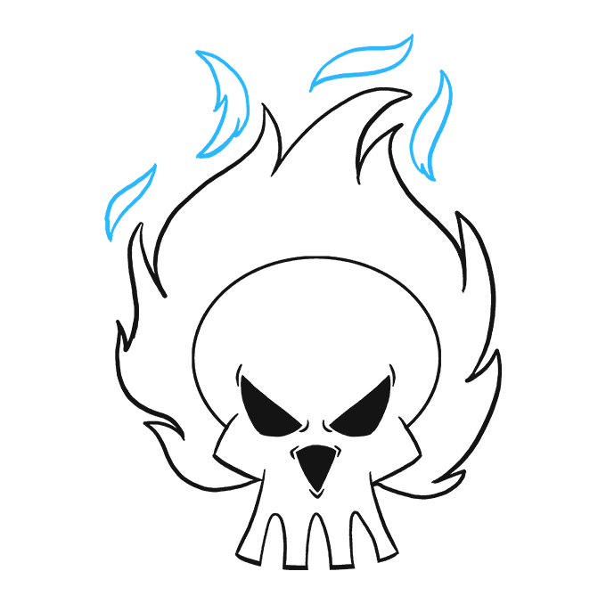 How to Draw Flaming Skull: Step 9