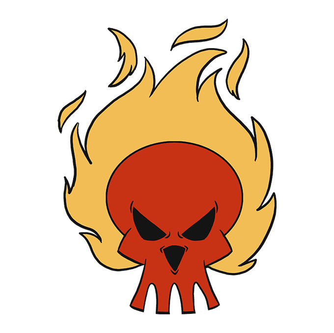 How to Draw Flaming Skull: Step 10