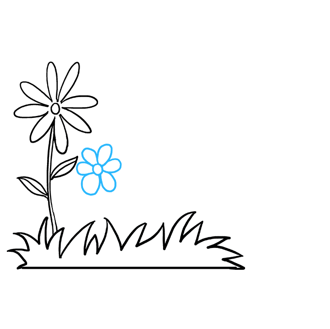 How to Draw Flower Garden Step 04
