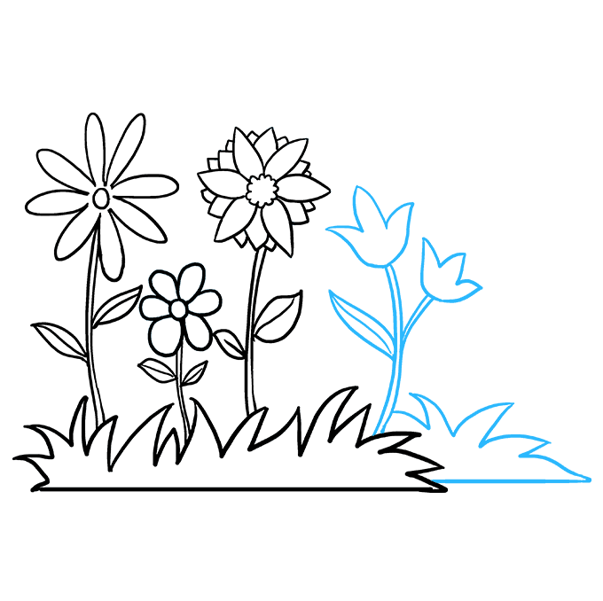 How to Draw Flower Garden: Step 8