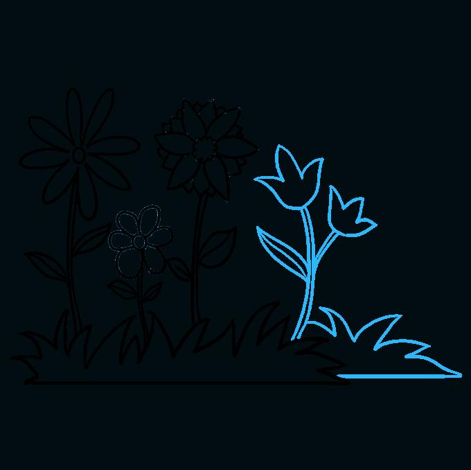 How to Draw Flower Garden Step 08