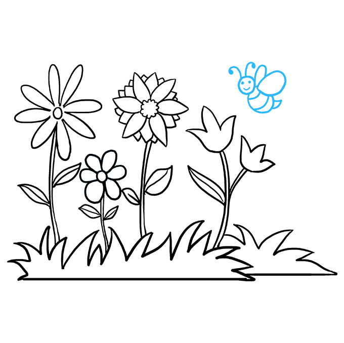How to Draw Flower Garden: Step 9