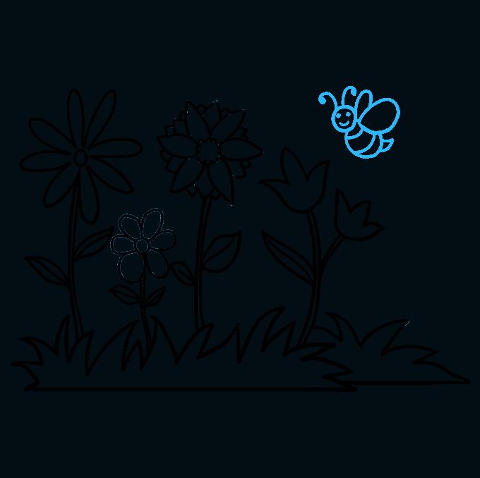 How to Draw Flower Garden Step 09