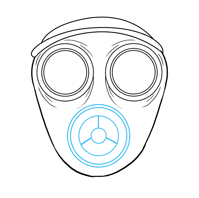 How to Draw Gas Mask: Step 6