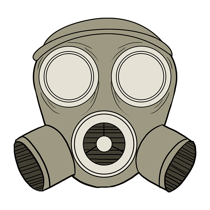 How to Draw Gas Mask: Step 10