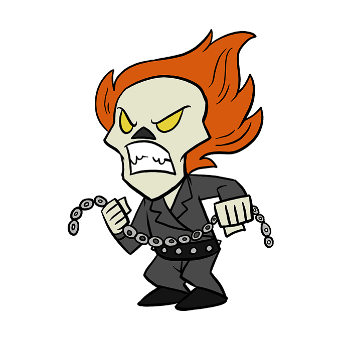 How to Draw Ghost Rider: Step 10