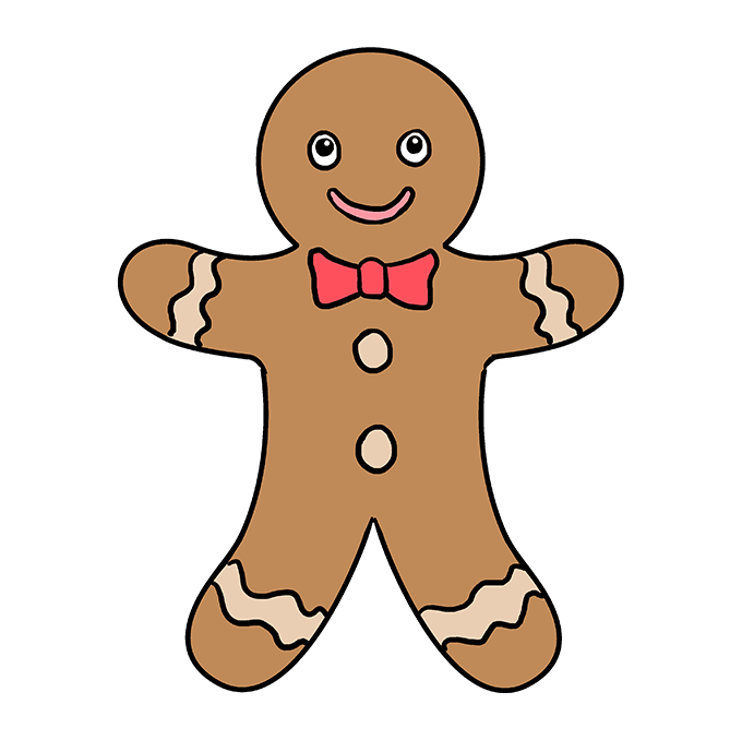 How to Draw Gingerbread Man: Step 10