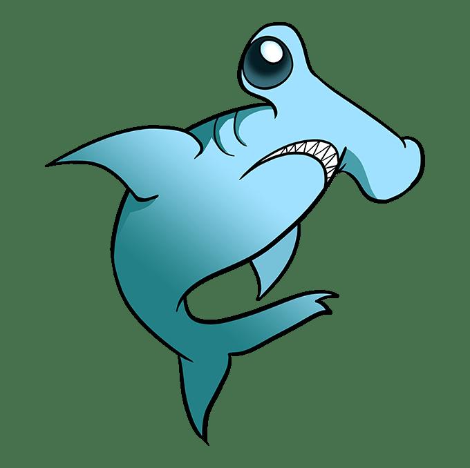 How to Draw Hammerhead Shark: Step 10