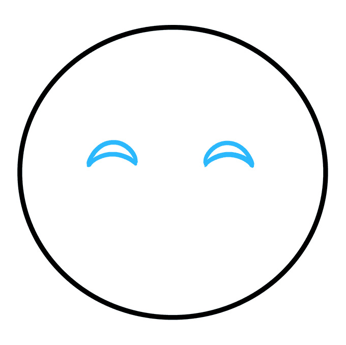 How to Draw Happy Face Emoji: Step 2