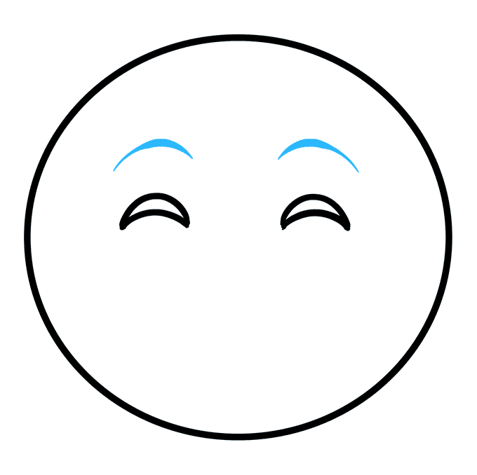 How to Draw Happy Face Emoji: Step 3