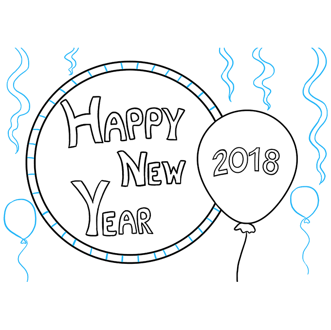 How to Draw Happy New Year 2018: Step 8