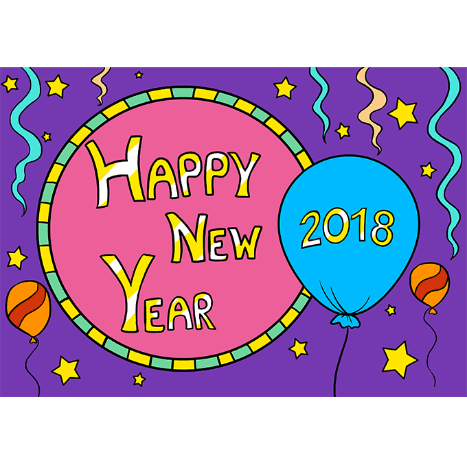 How to Draw Happy New Year 2018: Step 10