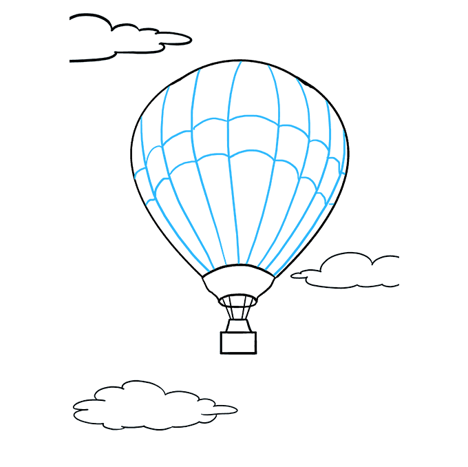 How to Draw Hot Air Balloon: Step 9