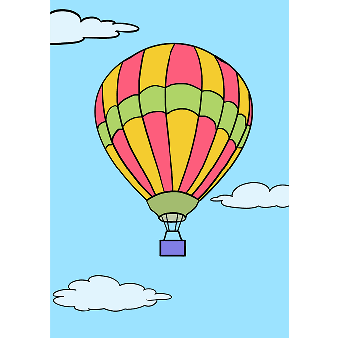 How to Draw Hot Air Balloon: Step 10