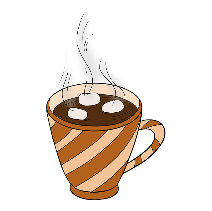 How to Draw Hot Chocolate Step 10