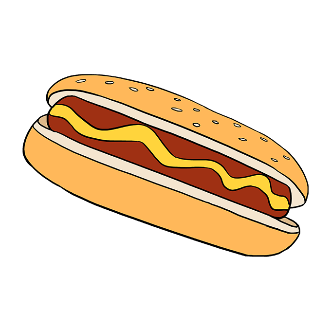 How to Draw Hot Dog: Step 10