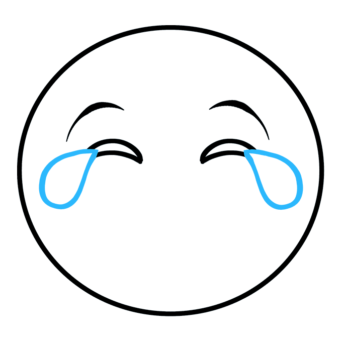 How to Draw Crying Laughing Emoji: Step 4
