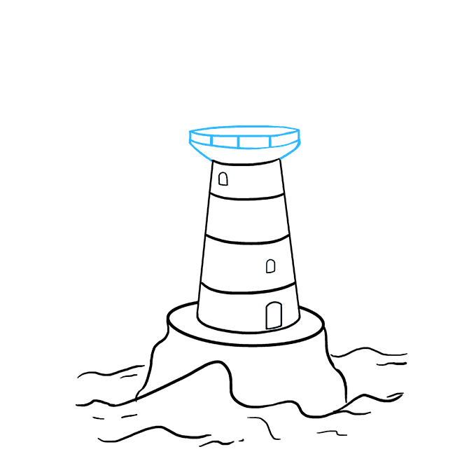 How to Draw Light House: Step 6