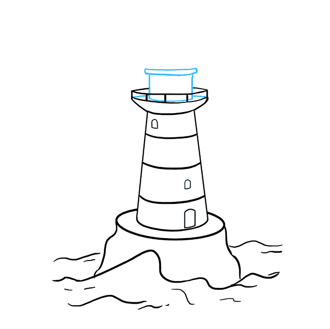 How to Draw Light House: Step 7
