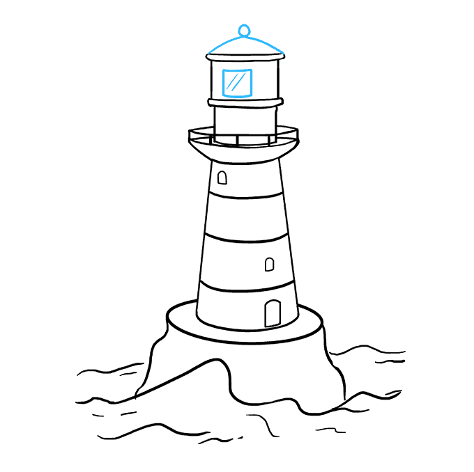 How to Draw Light House: Step 9
