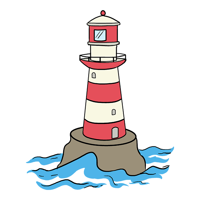 How to Draw Light House: Step 10