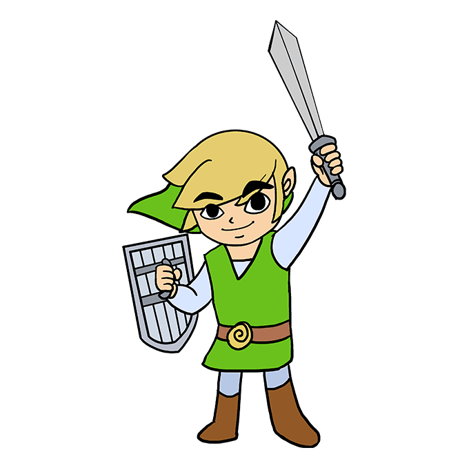 How to Draw Link from the Zelda Games: Step 10