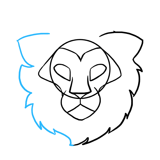 How To Draw A Lion Head Really Easy Drawing Tutorial Draw two intersecting lines inside the head. how to draw a lion head really easy