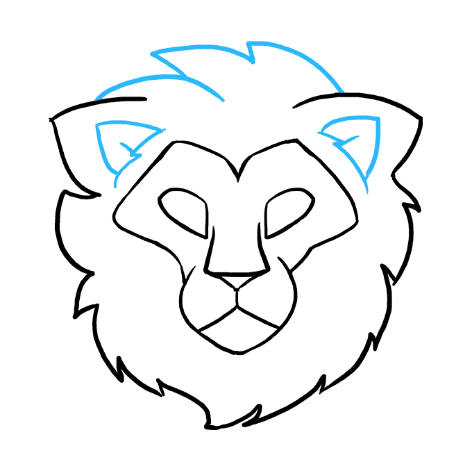 How to Draw a Lion Head Step 08