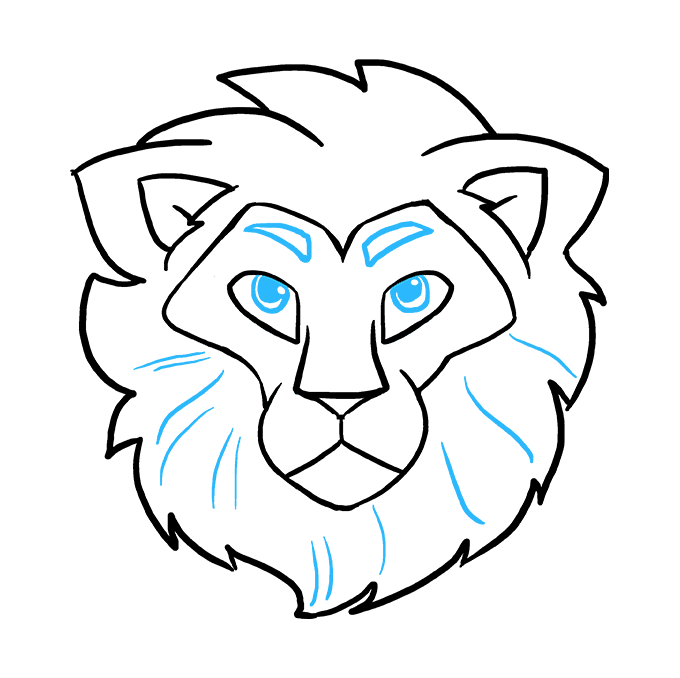 How to Draw a Lion Head Step 09