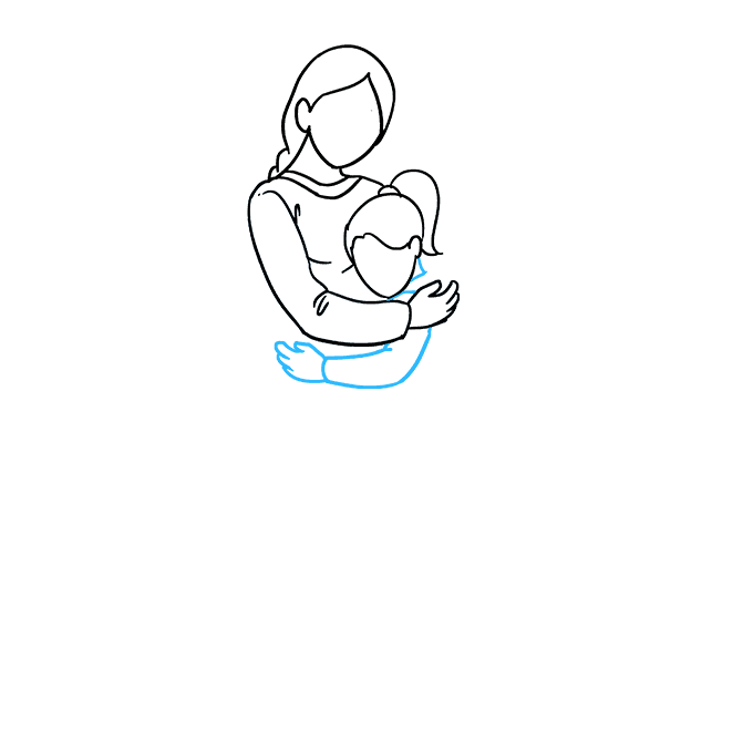 How to Draw Mother Hugging a Daughter: Step 4