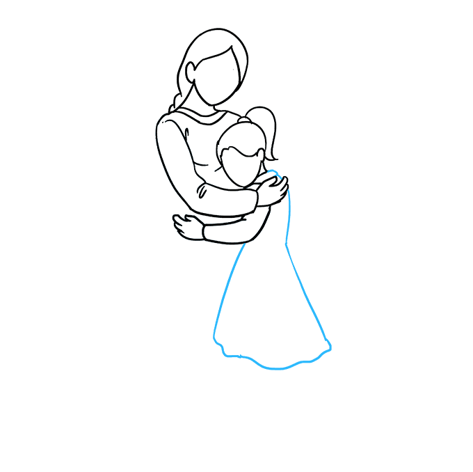 How to Draw Mother Hugging a Daughter: Step 5