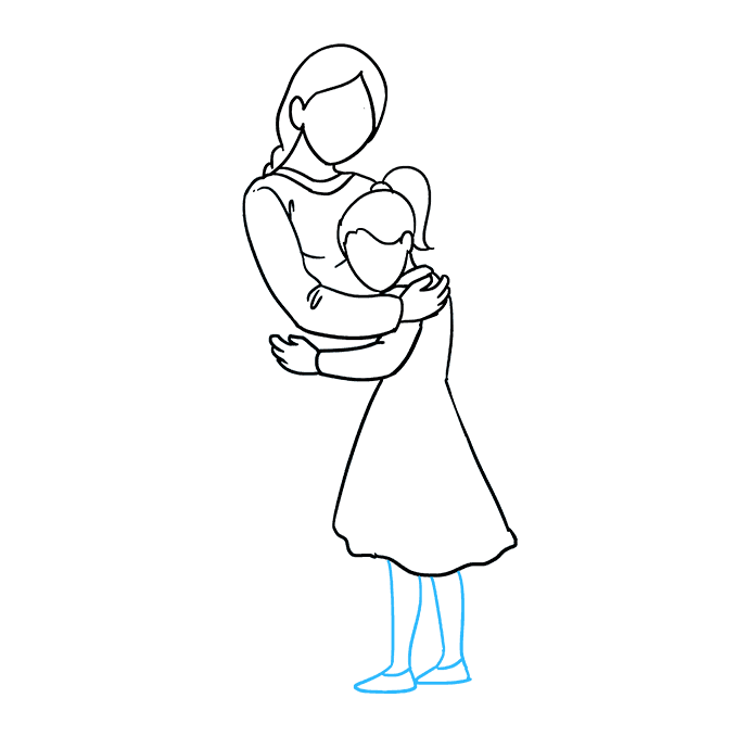 How to Draw Mother Hugging a Daughter: Step 6