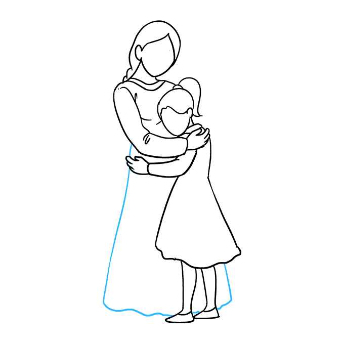 How to Draw Mother Hugging a Daughter: Step 7