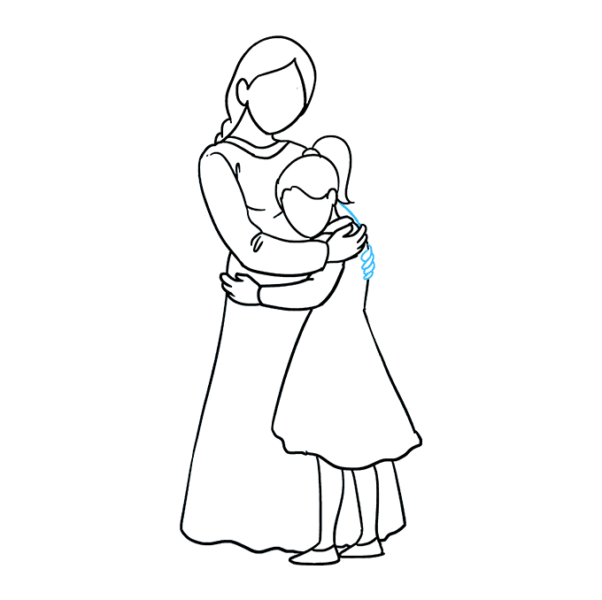 How to Draw Mother Hugging a Daughter: Step 8