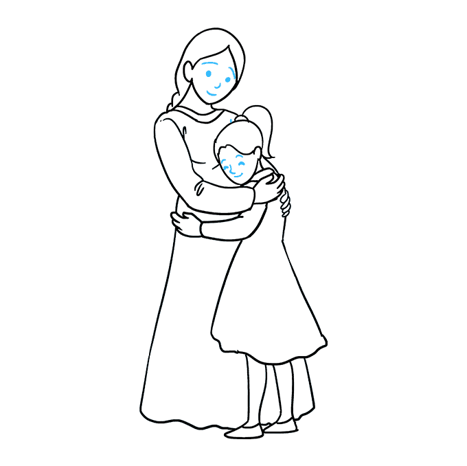 How to Draw Mother Hugging a Daughter: Step 9